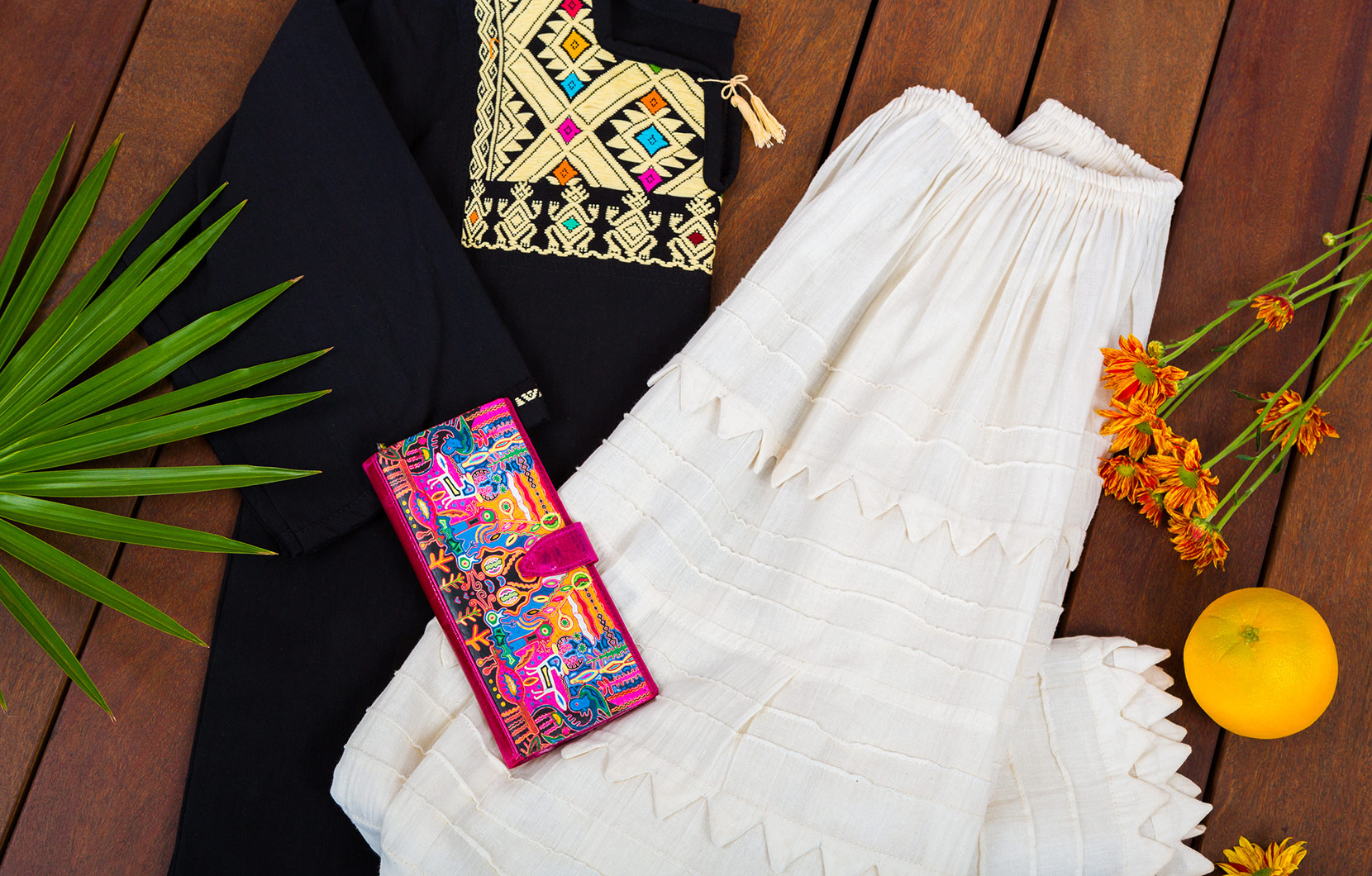 A Mexican-style purse, blouse, and skirt from La Plaza.