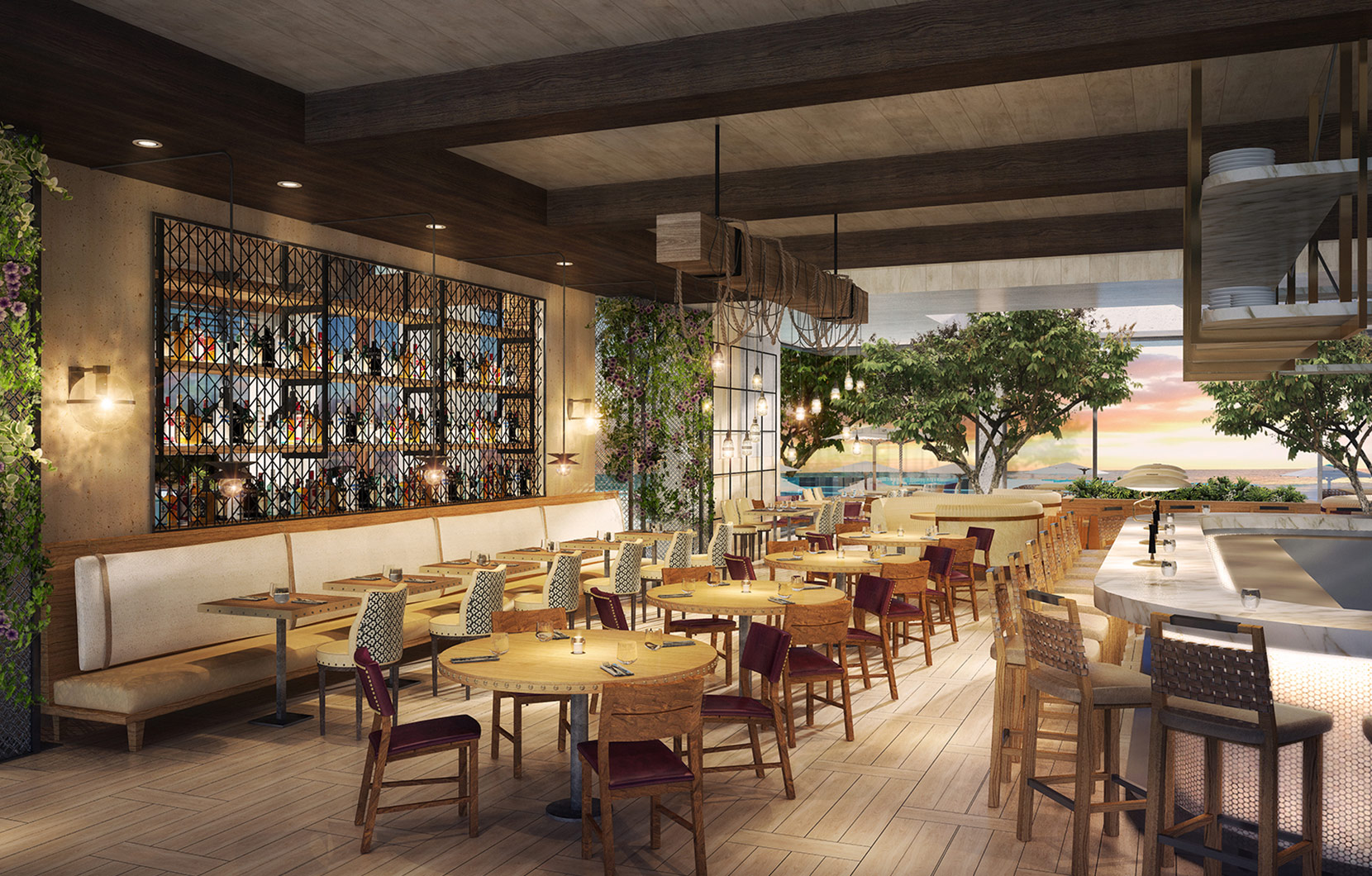 A view of Herringbone's indoor/outdoor dining room.